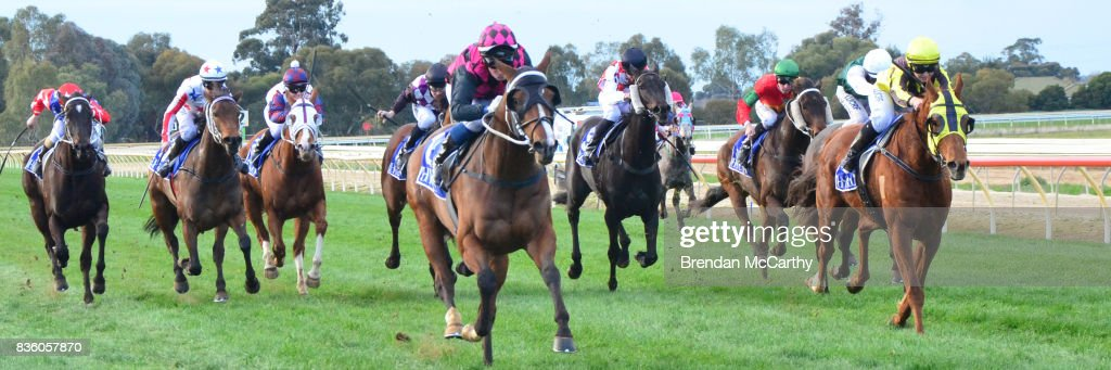 Awake in Grinzing (NZ) ridden by Anthony Boyd wins the Barmah Hotel BM58 Handicap at Echuca Racecourse on August 21, 2017 in Echuca, Australia.