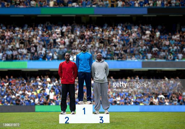 award ceremony, athletes on podium at a stadium - winners podium stock pictures, royalty-free photos & images