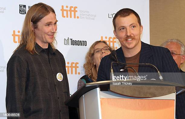Award for Best Canadian First Feature Film awarded to filmmakers Shayne Ehman and Seth Scriver for 'Asphalt Watches' attend the 2013 Awards Brunch at...