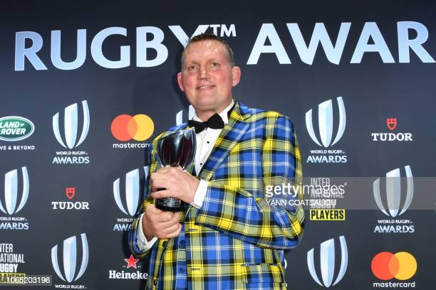Award for Character winner Doddie Weir from Scotland poses with his trophy during the World Rugby Awards on November 25 2018 in Monaco