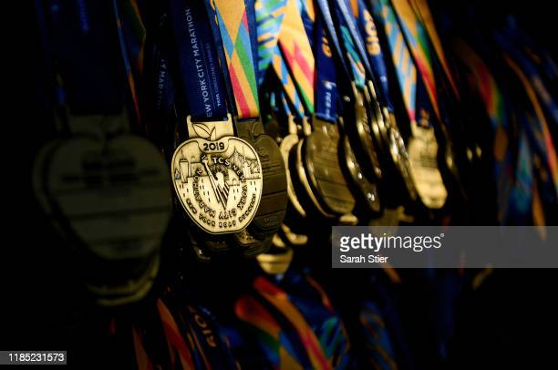 Award medals are organized before the start of the 2019 TCS New York City Marathon on November 03, 2019 in New York City.