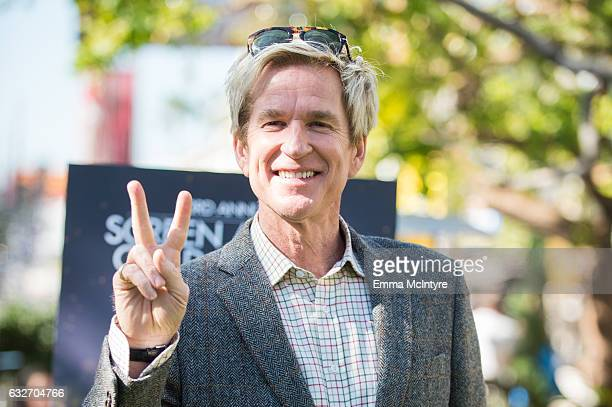 Award Nominee Matthew Modine greets the SAG Awards Actor statue at The Grove on January 25 2017 in Los Angeles California