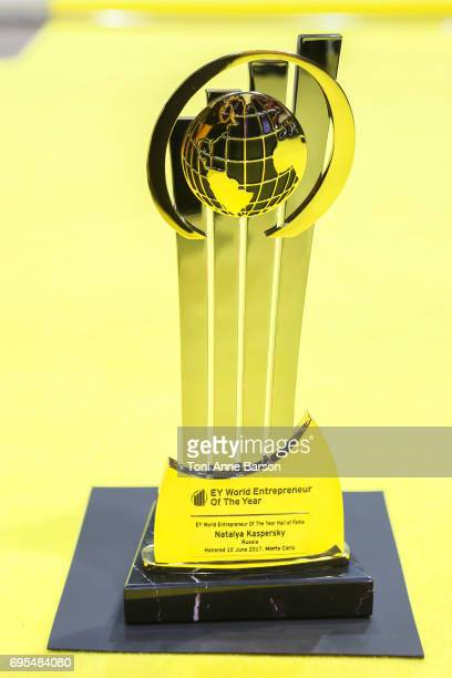 Award received by Natalya Kaspersky CEO of InfoWatch for EY Entrepreneur of the Year for Russia on June 10 2017 at the Salle des Etoiles in Monte...