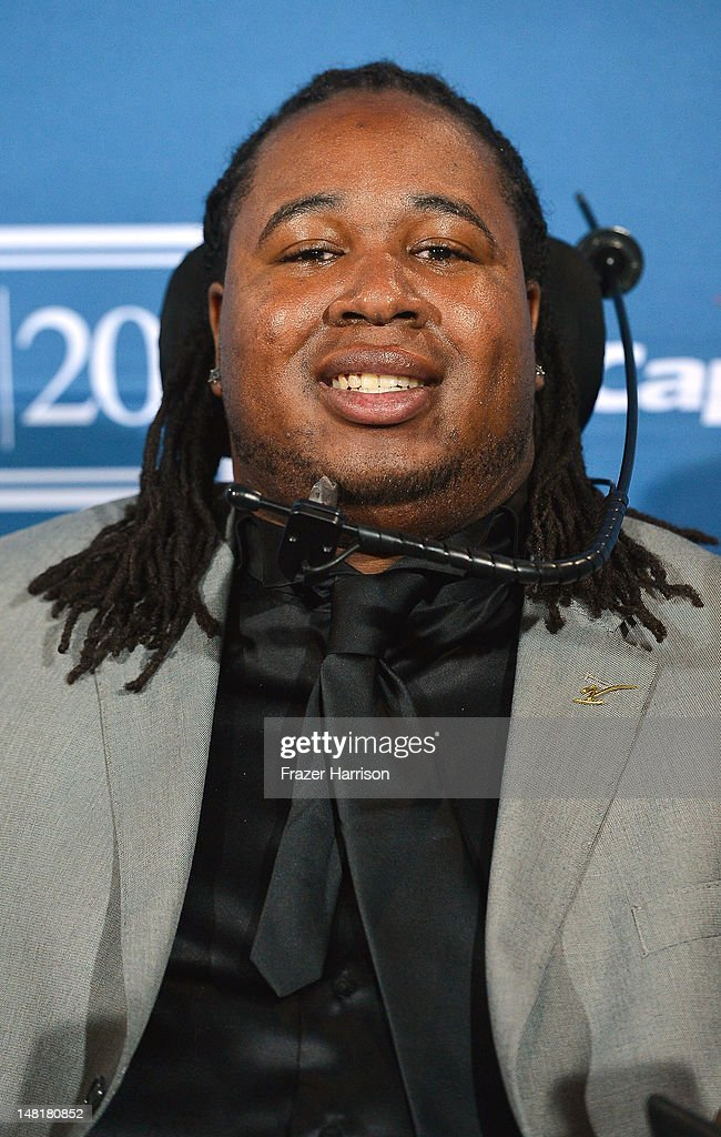 Award recipient Eric LeGrand poses in the press room during the 2012 ESPY Awards at Nokia Theatre L.A. Live on July 11, 2012 in Los Angeles, California.
