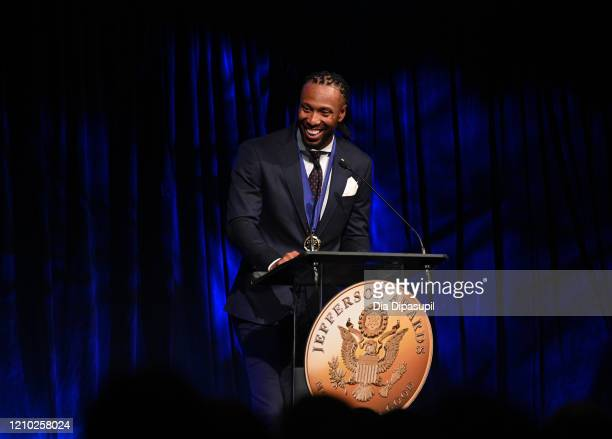 Award recipient for Outstanding Public Service in Professional Sports Larry Fitzgerald speaks on stage during NYC Jefferson Awards presented by...