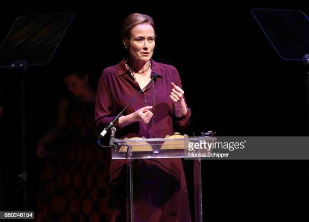 Award recipient Jennifer Ehle speaks on stage during 32nd Annual Lucille Lortel Awards at NYU Skirball Center on May 7 2017 in New York City