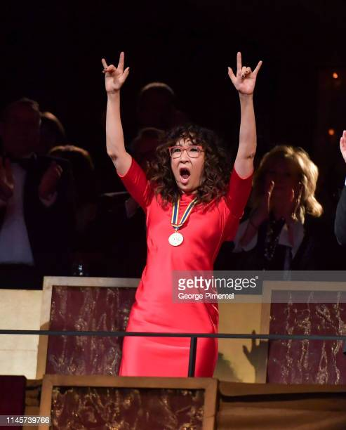 Award recipient Sandra Oh watches a performance at the 2019 Governor General's Performing Arts Awards held at National Arts Centre on April 27 2019...