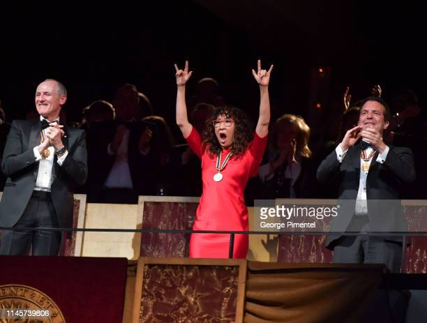 Award recipients Colm Feore Sandra Oh and Rick Mercer watch a performance at the 2019 Governor General's Performing Arts Awards held at National Arts...