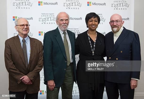 Award recipients Rainer Weiss Barry Barish and Kip Thorne pose with NASA Astranaut Mae Jemison on the red carpet for the Smithsonian Magazine's 2016...