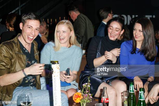 Award winer Ritchie Vogel German actress Jennifer Ulrich German actress Maria Ehrich and German actress Alice Dwyer during the Young ICONs Award in...