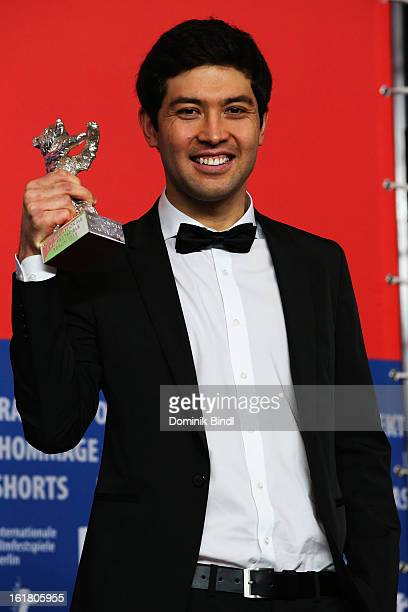 Award winner Aziz Zhambakiyev with his award at the Award Winners Press Conference during the 63rd Berlinale International Film Festival at Grand...