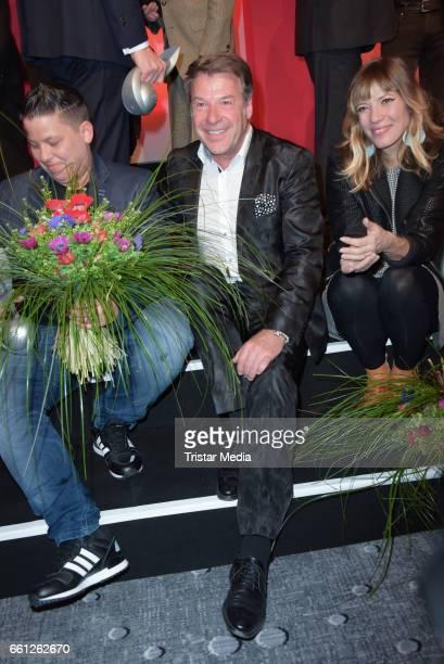 Award winner best album 2016 Kerstin Ott german singer Patrick Lindnder and Maria Mummert alias Mieze Katz during the 9th GEMA Musikautorenpreis at...