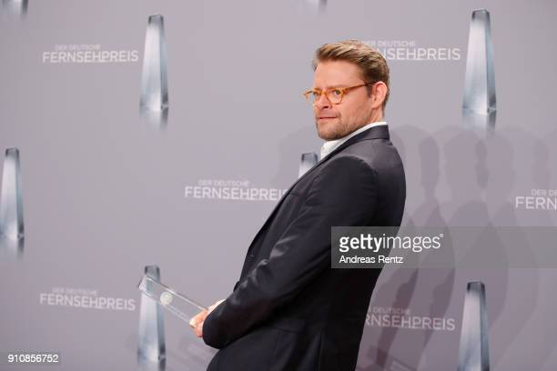 Award winner best comedy Max Giermann poses with his award during the German Television Award at Palladium on January 26 2018 in Cologne Germany