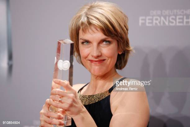 Award winner best presenter Marietta Slomka poses with her award during the German Television Award at Palladium on January 26 2018 in Cologne Germany