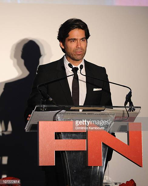 Award Winner Brian Atwood speaks onstage at the Footwear News 24th Annual Achievement Awards at The Museum of Modern Art on November 30 2010 in New...