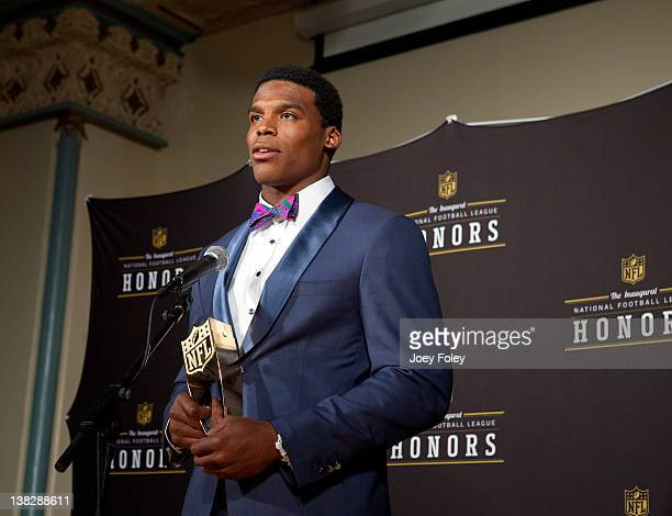 Award winner Carolina Panthers quarterback Cam Newton talks to the press after winning at the 2012 NFL Honors at the Murat Theatre on February 4 2012...