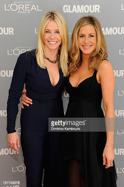 Award winner Chelsea Handler and presenter Jennifer Aniston attend Glamour's 2011 Women of the Year Awards on November 7 2011 in New York City