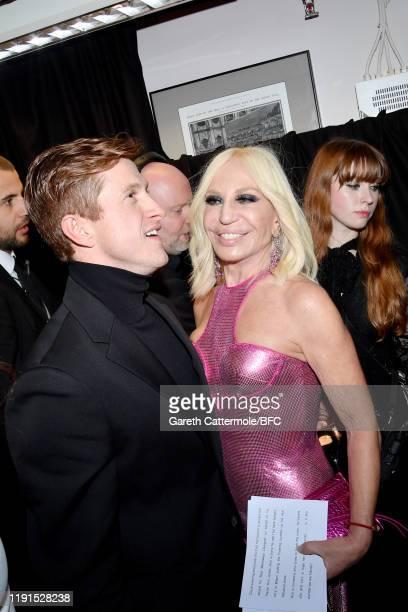 Award winner Daniel Lee for Bottega Veneta and Donatella Versace backstage during The Fashion Awards 2019 held at Royal Albert Hall on December 02...