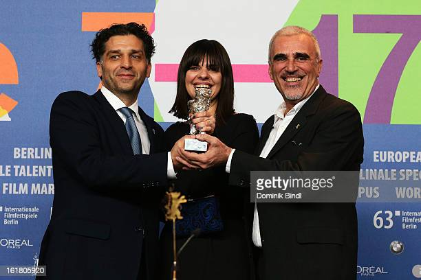 Award winner Danis Tanovic with his award at the Award Winners Press Conference during the 63rd Berlinale International Film Festival at Grand Hyatt...