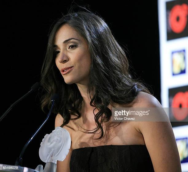 Award winner for best alternative show Fuerza Bruta Claudia Cervantes in the press room during las Lunas del Auditorio 2008 at Auditorio Nacional on...