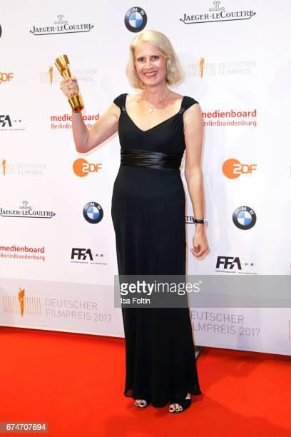 Award winner for best cut in 'Toni Erdmann' Heike Parplies at the Lola - German Film Award winners board at Messe Berlin on April 28, 2017 in Berlin,...