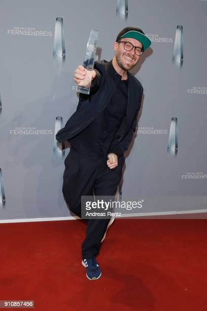 Award winner for best entertainment primetime Mark Forster poses with his award during the German Television Award at Palladium on January 26 2018 in...