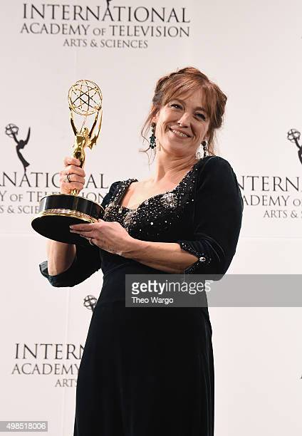 Award Winner for Best Performance By An Actress Anneke von der Lippe as Helen Sikkeland for Qevitne attends 43rd International Emmy Awards at New...