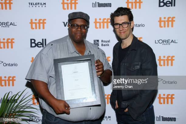 Award winner Guy Nattiv and Daryle Lamont Jenkins pose after receiving the Fipresci Special Presentation Award for 'Skin' at the 2018 TIFF Awards...
