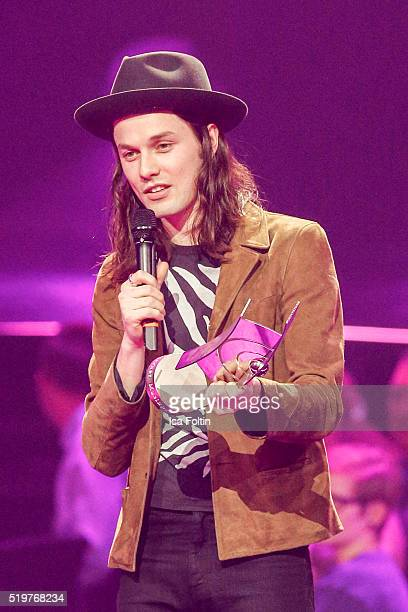 Award winner James Bay speaks on stage during the Echo Award 2016 show on April 07 2016 in Berlin Germany
