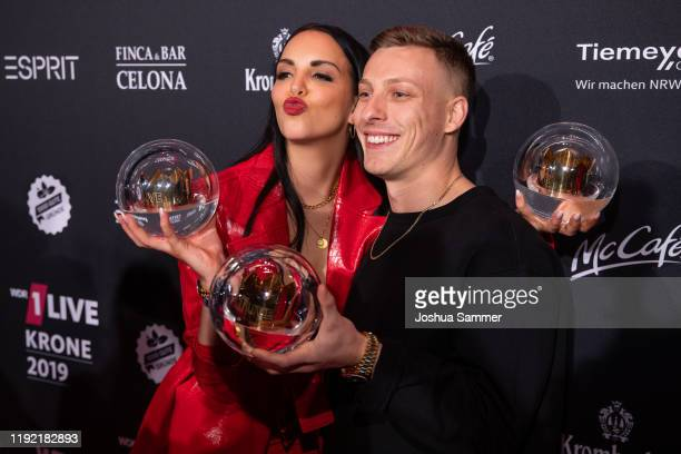 Award winner Judith Wessendorf alias Juju and Felix Lobrecht at the 1Live Krone radio award at Jahrhunderthalle on December 05 2019 in Bochum Germany