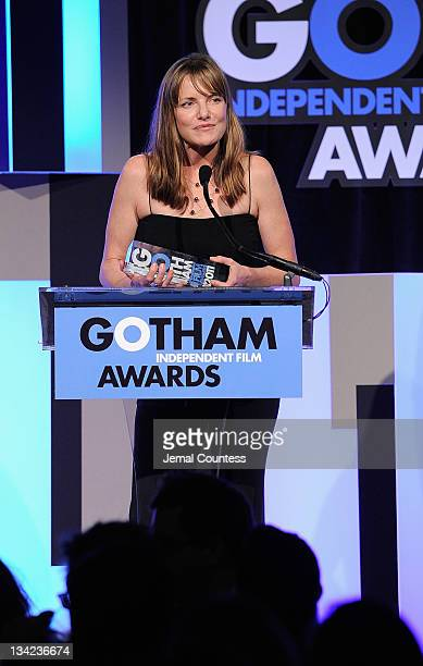 Award winner Katie Galloway speaks onstage at the IFP's 21st Annual Gotham Independent Film Awards at Cipriani Wall Street on November 28 2011 in New...