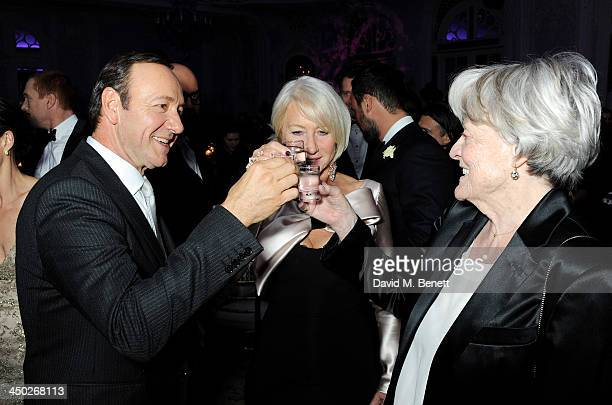 Award winner Kevin Spacey Dame Helen Mirren and Dame Maggie Smith celebrate their wins at an after party following the 59th London Evening Standard...