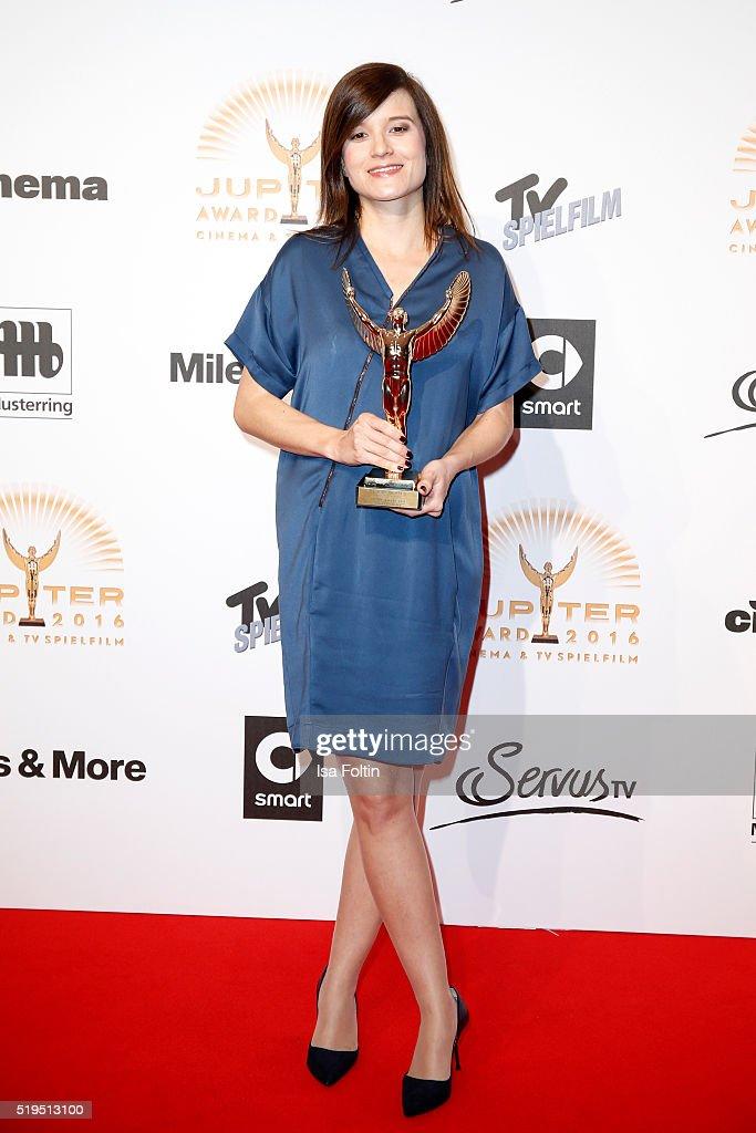 Award winner Lena Schoemann and smart attend the Jupiter Award 2016 on April 06, 2016 in Berlin, Germany.