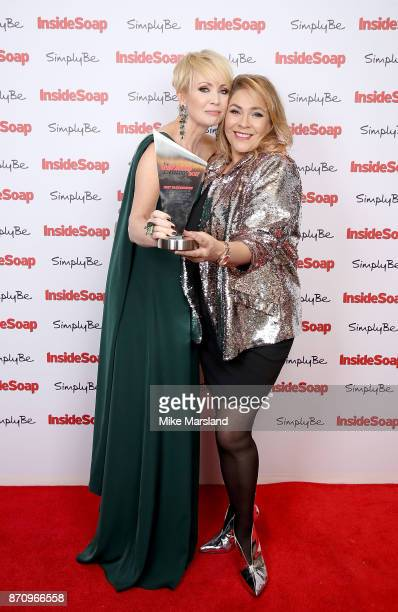 Award winner Lysette Anthony with Nicole BarberLane at the Inside Soap Awards held at The Hippodrome on November 6 2017 in London England