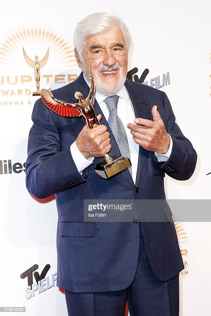 Award winner Mario Adorf and smart attends the Jupiter Award 2016 on April 06, 2016 in Berlin, Germany.