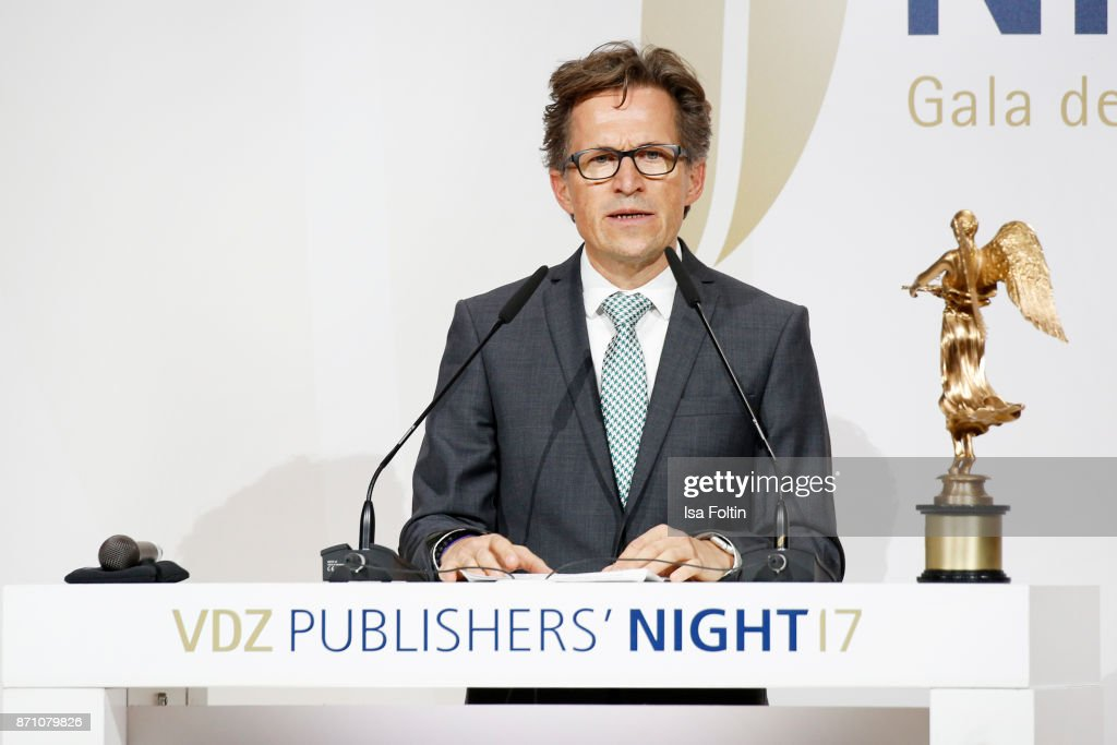 Award winner Markus Mosa during the VDZ Publishers' Night at Deutsche Telekom's representative office on November 6, 2017 in Berlin, Germany.