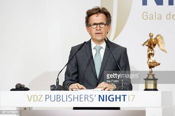 Award winner Markus Mosa during the VDZ Publishers' Night at Deutsche Telekom's representative office on November 6 2017 in Berlin Germany