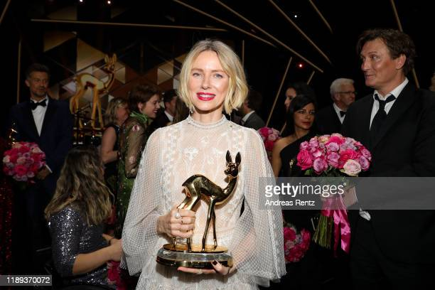 Award winner Naomi Watts poses on stage during the 71st Bambi Awards show at Festspielhaus Baden-Baden on November 21, 2019 in Baden-Baden, Germany.