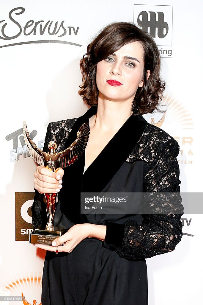 Award winner Nora Tschirner and smart attend the Jupiter Award 2016 on April 06, 2016 in Berlin, Germany.