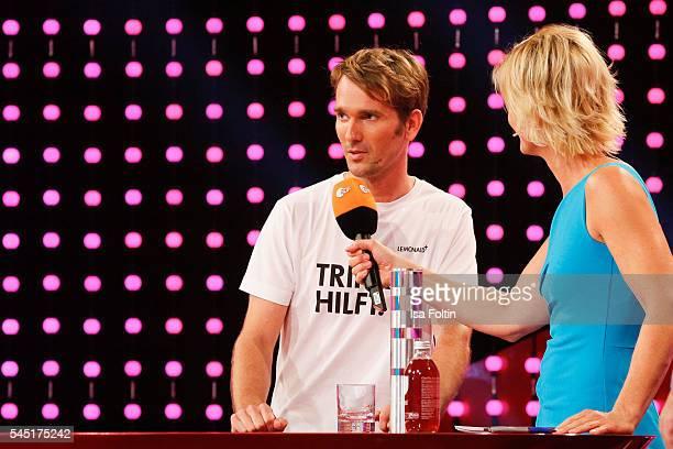 Award winner Paul Bethke and german moderator Barbara Hahlweg during the Deutscher Gruenderpreis on July 5, 2016 in Berlin, Germany.