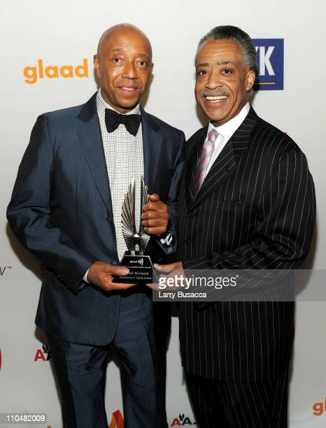 Award winner Russell Simmons and Al Sharpton attend the 22nd Annual GLAAD Media Awards presented by ROKK Vodka at Marriott Marquis Times Square on...
