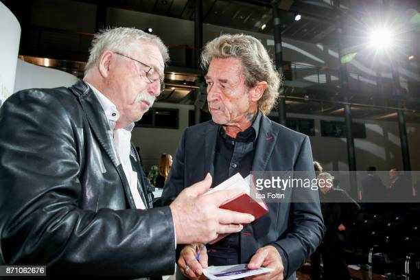 Award winner Wolf Biermann and German singer Peter Maffay during the VDZ Publishers' Night at Deutsche Telekom's representative office on November 6...