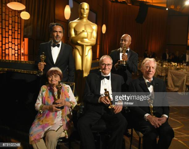 Award winners Agnes Varda Alejandro González Iñárritu Owen Roizman Charles Burnett and Donald Sutherland attend the Academy of Motion Picture Arts...