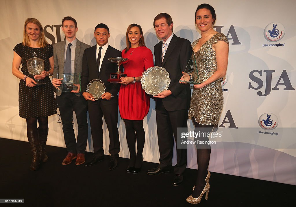 Award winners Anna Watkins, Jonny Marray, Alex Oxlade-Chamberlain, Jessica Ennis, George O'Grady and Sarah Storey pose with their awards during the SJA 2012 British Sports Awards at The Pavilion at the Tower of London on December 6, 2012 in London, England.