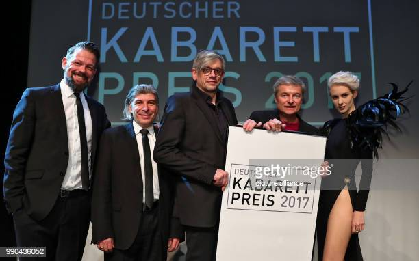 Award winners at the Deutscher KabarettPreis 2017 ceremony at the Tafelhalle in Nuremberg Germany 13 Janaury 2018 CabarettDuo ONKeL fISCH Adrian...