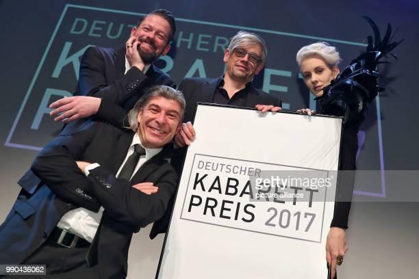 Award winners at the Deutscher KabarettPreis 2017 ceremony at the Tafelhalle in Nuremberg Germany 13 Janaury 2018 CabarettDuo ONKeL fISCH Adrian...