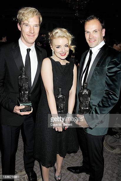 Award winners Benedict Cumberbatch Sheridan Smith and Jonny Lee Miller attend an after party following the 57th Evening Standard Theatre Awards at...