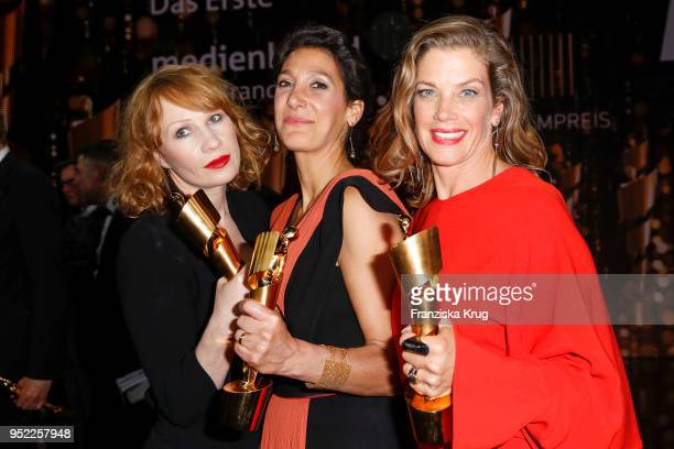 Award winners Birgit Minichmayer Emily Atef and Marie Baeumer during the Lola German Film Award Party at Palais am Funkturm on April 27 2018 in...
