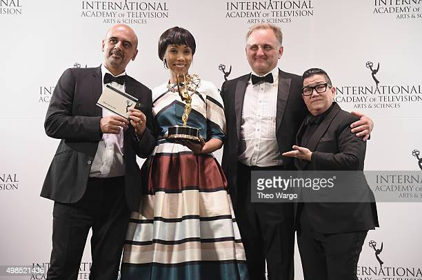 Award Winners for Documentary for Miners Shot Down including director Rehad Desai actress Lala Tuku and Cinematographer Jonathan Kovel celebrate with...