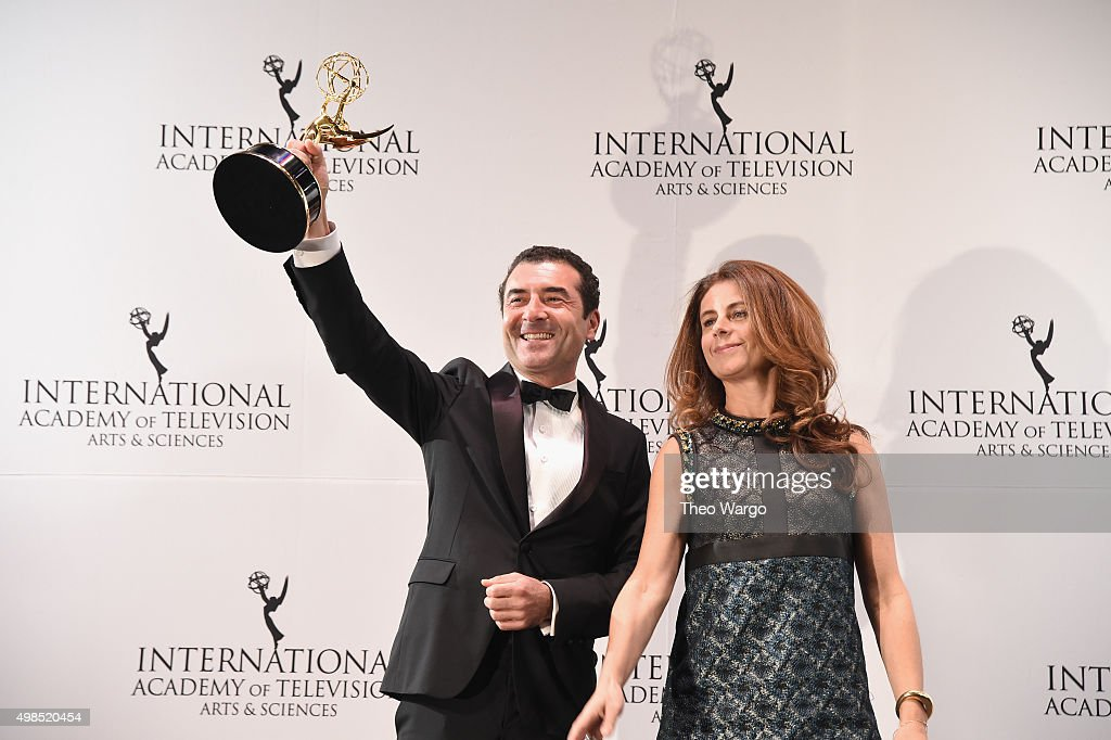 Award Winners for Drama Series for 'Engrenages Saison 5' ('Spiral Season 5') including producers Vassili Clert and Anne Landois celebrate at 43rd International Emmy Awards at New York Hilton on November 23, 2015 in New York City.